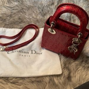 🔥 Christian Dior Mini Lady Patent Leather🍒Cherry